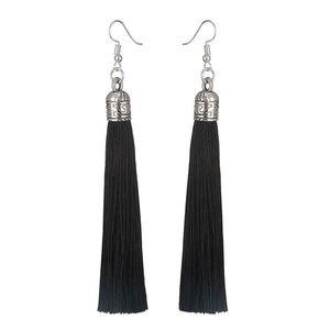 Tassel Drop Earrings Black  Beautiful